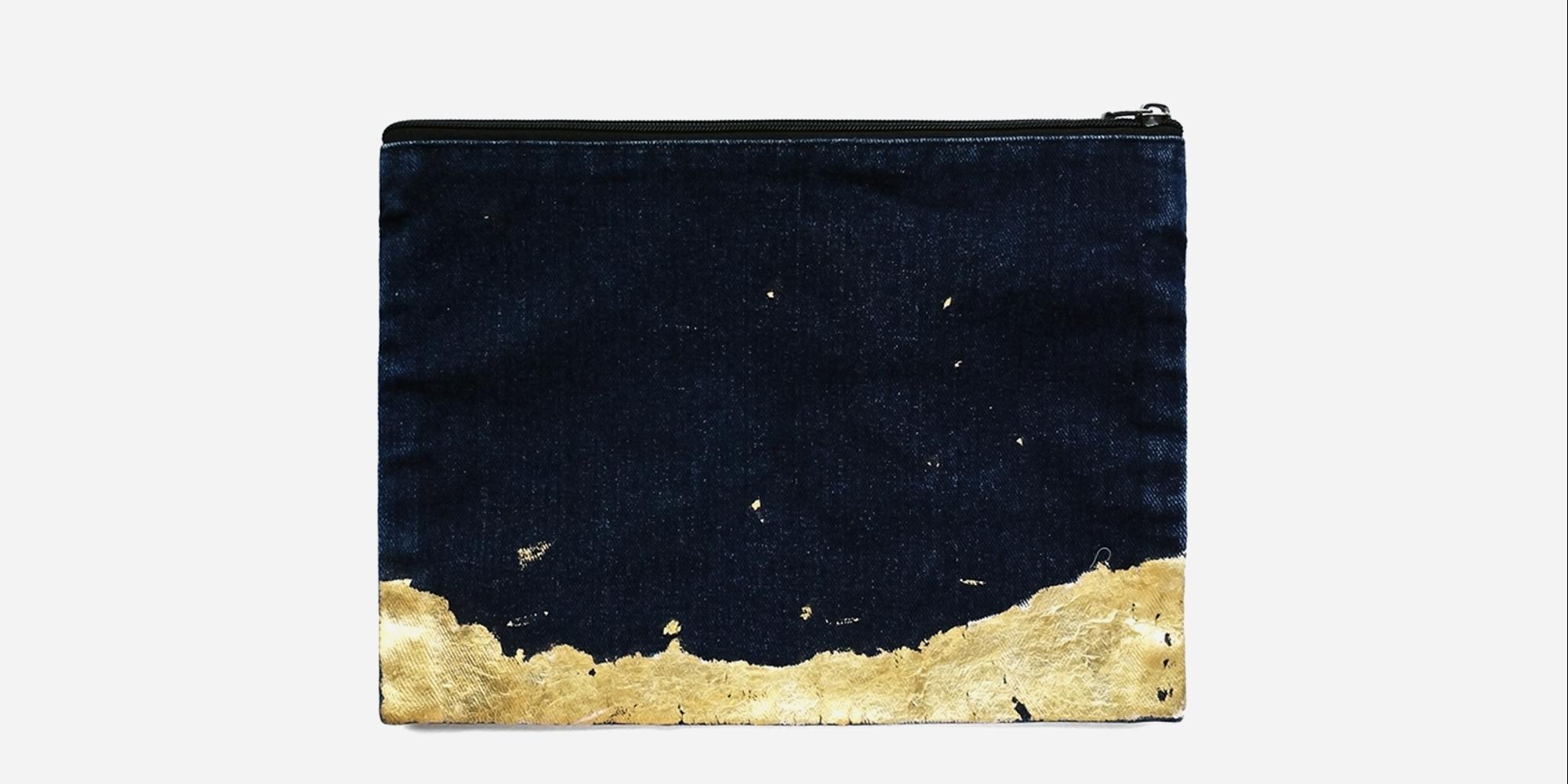(Welcome to Reserve )513 Paint Shop | Denim Gold Foil Handbag